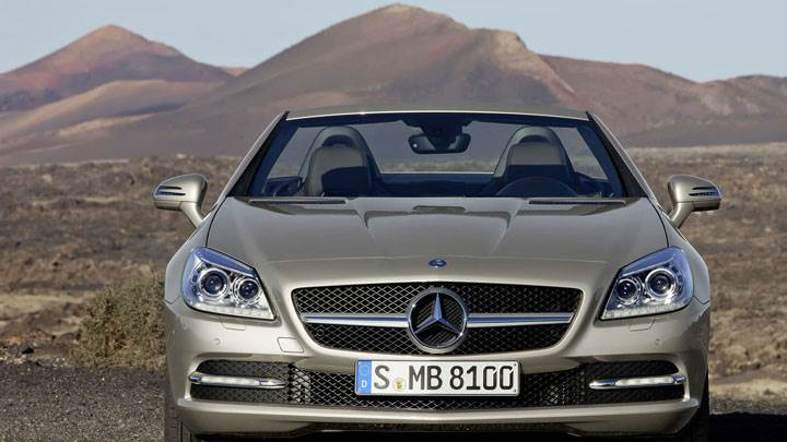 Front View of Golden Mercedes-Benz SLK 350