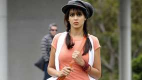 Genelia D'souza In Orange Dress And Black Cap