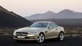 Golden Mercedes-Benz SLK 350 Front Side View