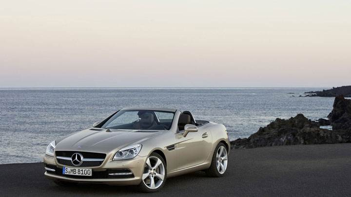 Golden Mercedes-Benz SLK 350 Parked Near Beach