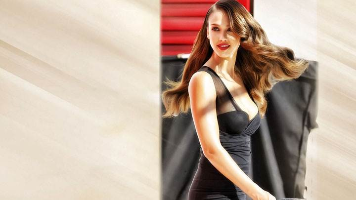 Jessica Alba In Black Dress Smiling Face