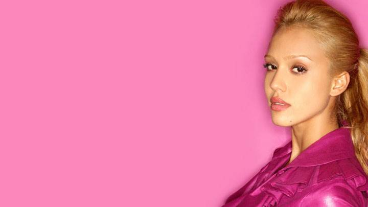 Jessica Alba In Pink Dress And Pink Background