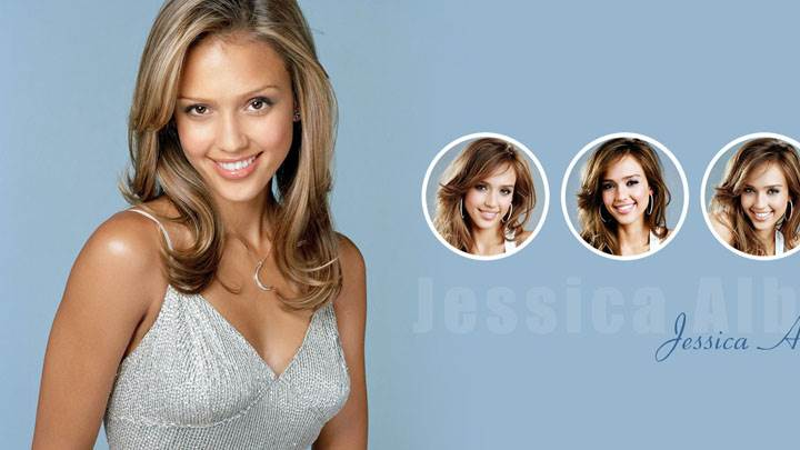 Jessica Alba In Silver Dress And Three Face Closeup
