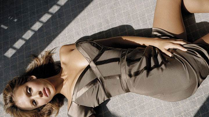 Jessica Alba Laying On Ground In Brown Dress