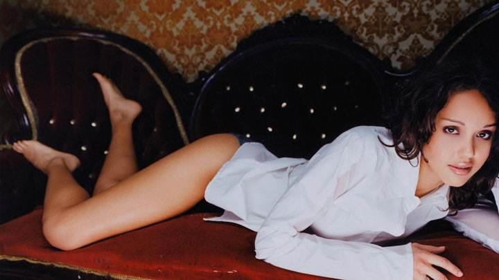 Jessica Alba Laying On Sofa In White Shirt