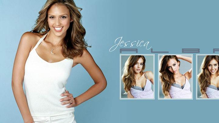 Jessica Alba Modeling Pose In White Dress And Three Different Pose