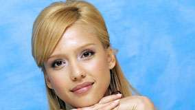 Jessica Alba Pink Lips And Blue Background Face Closeup