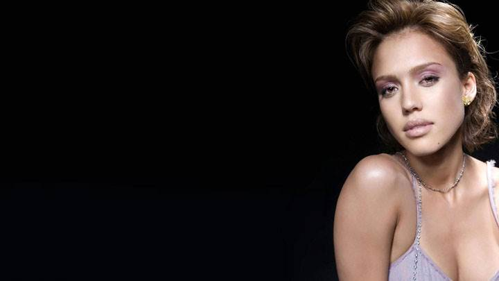 Jessica Alba Sitting Pose And Black Background