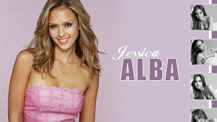 Jessica Alba Smiling In Pink Dress And Four Black And White Pose