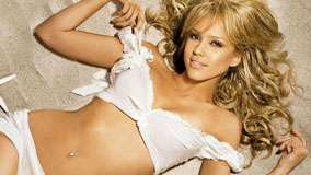 Jessica Alba Smiling In White Bikini And Golden Hairs