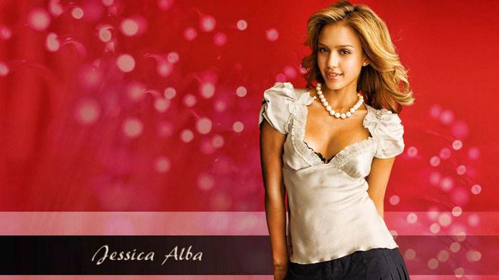 Jessica Alba Smiling In White Top And Red Background