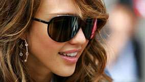 Jessica Alba Smiling Pink Lips And Black Goggle Face Closeup