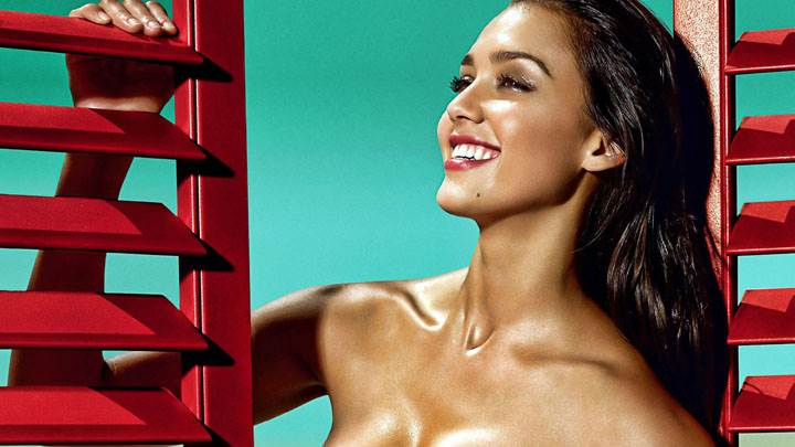 Jessica Alba Smiling Red Lips Photoshoot