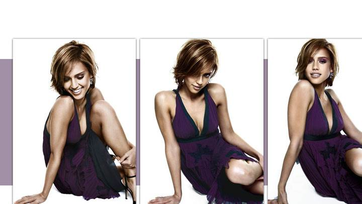 Jessica Alba Three Different Pose And White Background