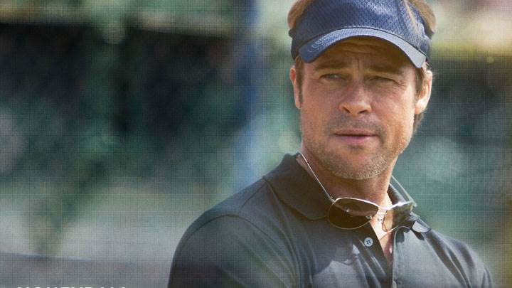 Moneyball – Brad Pitt In Blue Cap And T Shirt