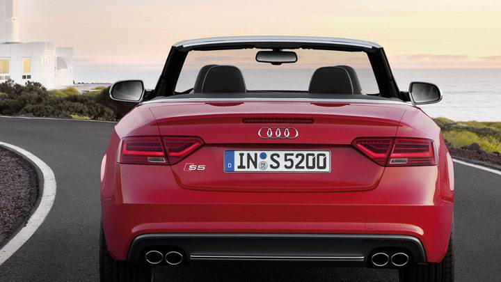Red 2012 Audi S5 Cabriolet Back View Near Beach