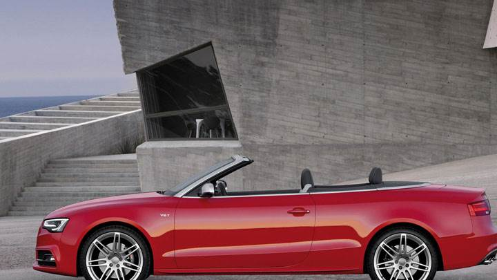 Red 2012 Audi S5 Cabriolet Side View Near Building