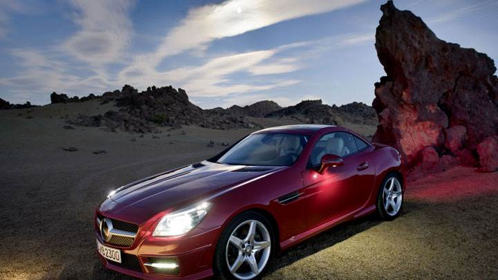 Red Color Mercedes-Benz SLK 350 Near Mountains