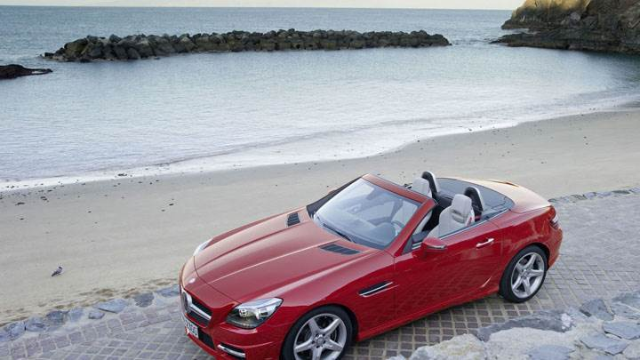 Red Mercedes-Benz SLK 350 Parked Near Beach