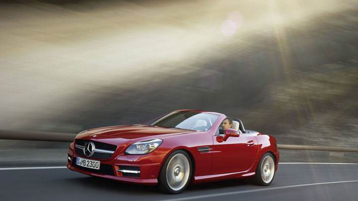 Red Mercedes-Benz SLK 350 Running on Highway