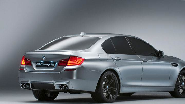 Side Back Pose in Grey Color 2012 BMW M5 Concept