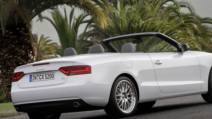 Side Back Pose of Audi A5 Cabriolet in White