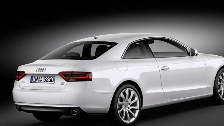 Side Back Pose of White 2012 Audi A5 Coupe