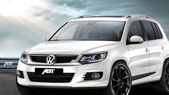 Side Front Pose of ABT Volkswagen Tiguan in White