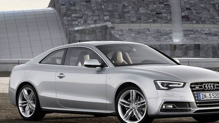 Side Front of Silver 2012 Audi S5 Coupe