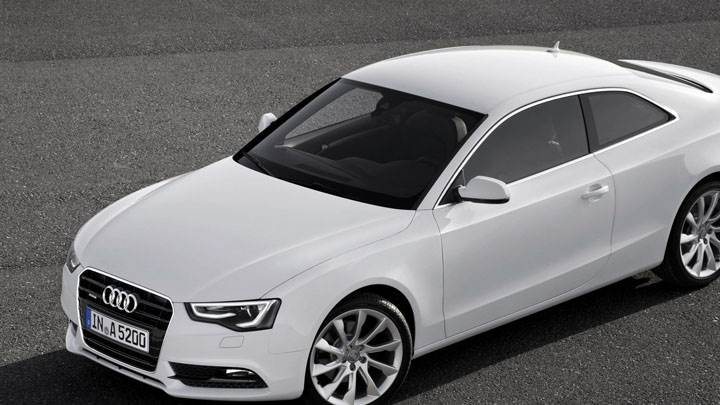Side Front of White 2012 Audi A5 Coupe