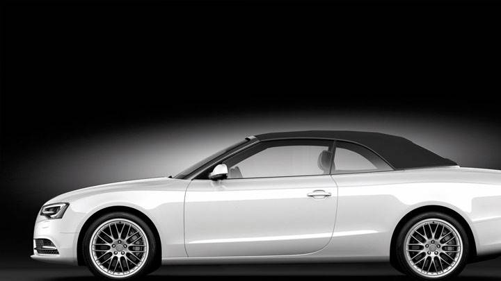 Side Pose of Audi A5 Cabriolet in White