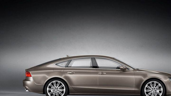 Side Pose of Audi A7 Sportback in Brown