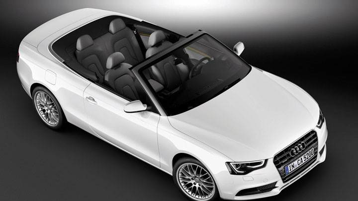 Side Top Pose of Audi A5 Cabriolet in White