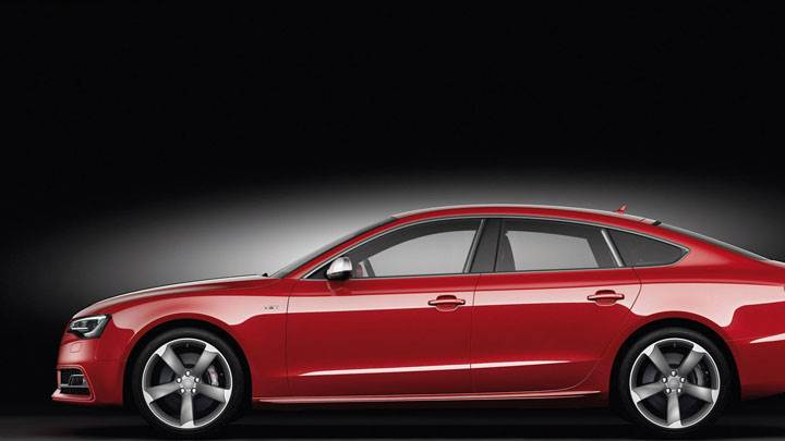 Side View of Red 2012 Audi S5 Sportback