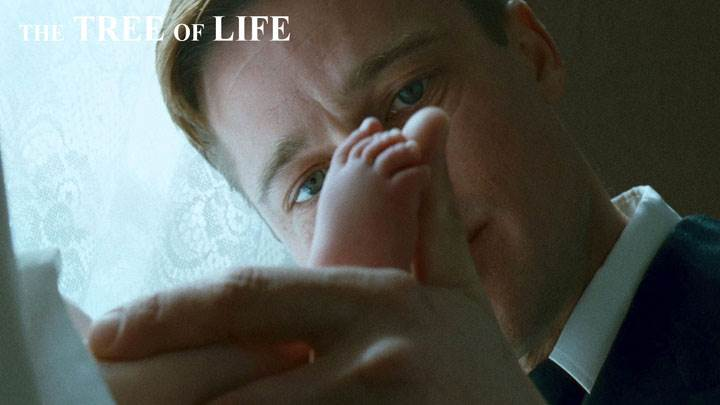 The Tree Of Life – Brad Pitt Innocent Face And Little Baby Foot In Hand