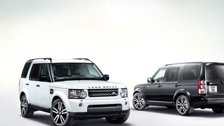 White And Black Land Rover Discovery in Side Front And Back Pose