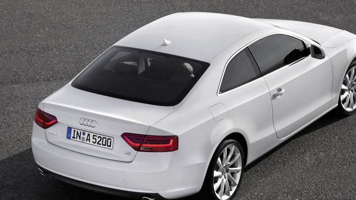 White Color 2012 Audi A5 Coupe Side Back Pose