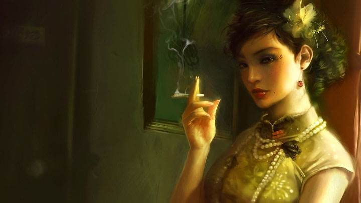 3d Girl Doing Smoking And Red Lips N Side Pose