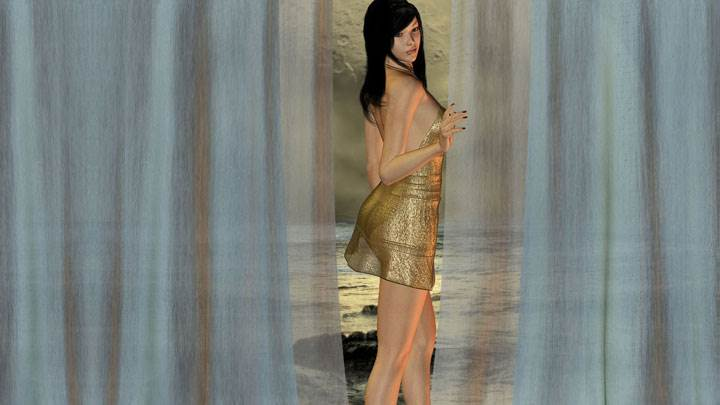 3d Girl Modeling Pose With Curtain In Golden Dress