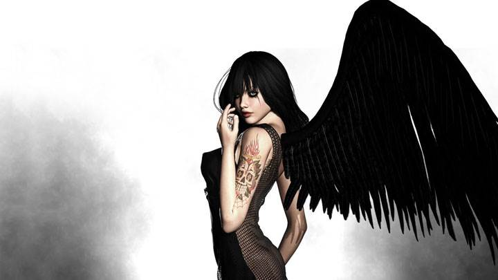 3d Girl Side Pose In Black Long Dress And Black Wings