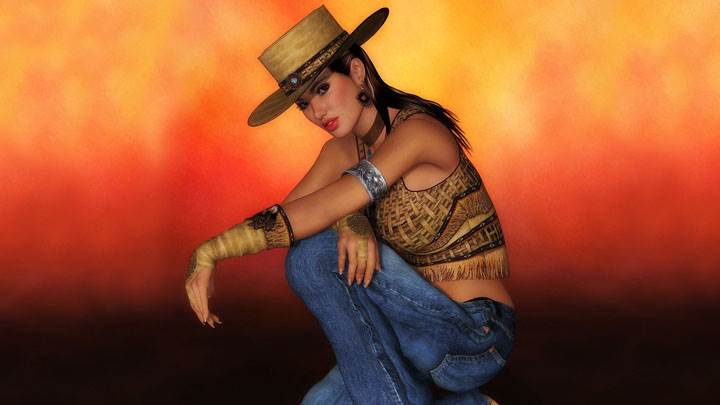 3d Girl Side Sitting Pose In Top And Blue Jeans And Hat