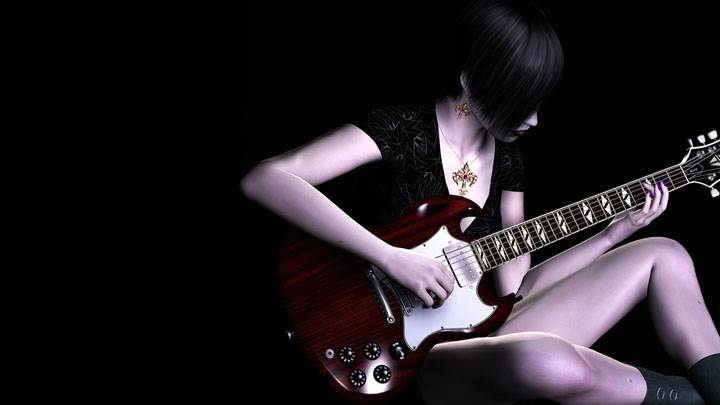 3d Girl Sitting Guitar In Hand And Black Background