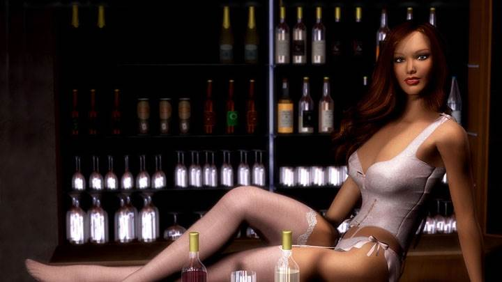 3d Girl Sitting In Bar In White Bikini