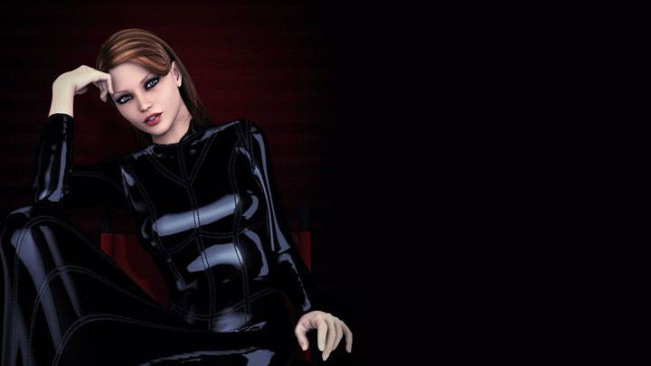 3d Girl Sitting In Black Shining Dress And Black Background