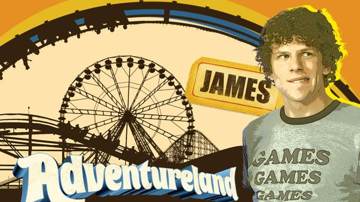 Adventureland – Jesse Eisenberg Looking Side in Grey T-shirt
