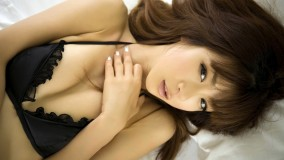 Aki Hoshino Laying On Bed In Black Bikini Looking Sexy