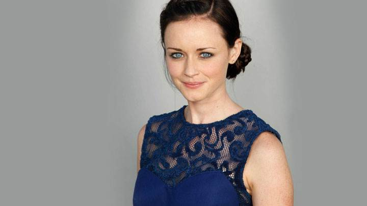 Alexis Bledel Smiling In Blue Eyes And Blue Dress