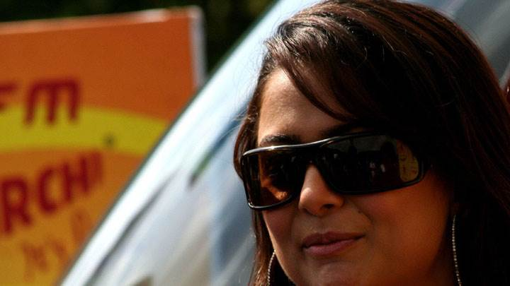 Amrita Arora Smiling In Black Goggles Face Closeup