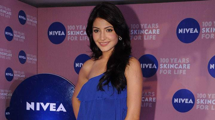 Anushka Sharma In Blue Dress Modeling Pose In Nivea Event