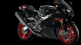 Aprilia RSV R Nera in Black And Black Background Side Pose